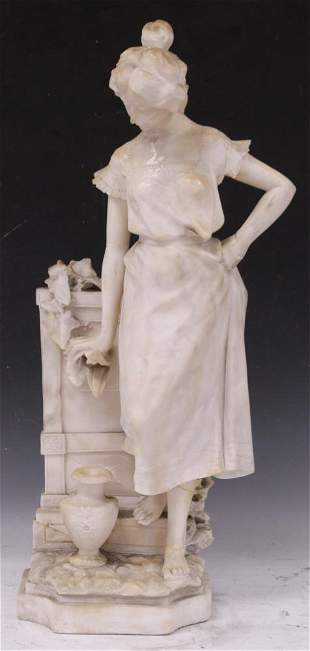 ADOLFO CIPRIANI ALABASTER CARVED WOMAN @ FOUNTAIN