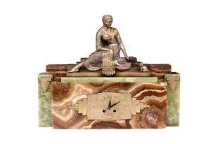 ART DECO ONYX & CAST METAL STATUE CLOCK
