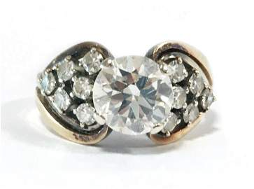 EUROPEAN CUT DIAMOND 14KT RING, 1.65 CTS.