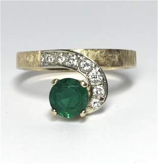 EMERALD & DIAMOND LADYS 14KT RING