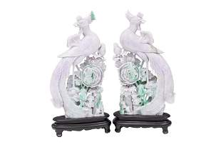 PR. CHINESE CARVED JADE PHOENIX, W/ STANDS