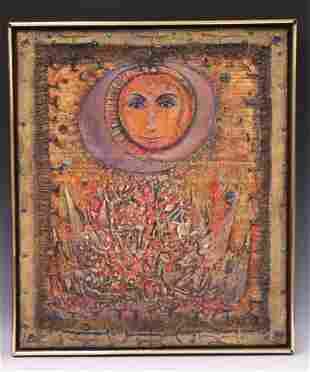 MID-CENTURY STYLE MIXED MEDIA WORK OF ART