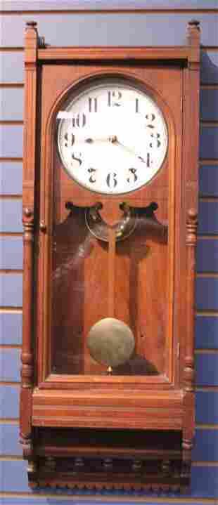 SETH THOMAS WALNUT WALL CLOCK, 19TH C.