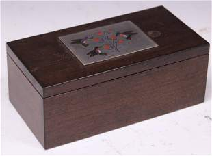 ZUNI SILVER INLAID WOOD JEWELRY BOX