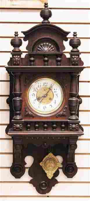 """GERMAN 19TH C. WALNUT WALL CLOCK, 30"""""""