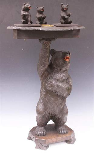 GERMAN 19TH C. BLACK FOREST BEAR STAND/ MUSIC BOX