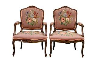 PAIR OF NEEDLEPOINT VINTAGE CARVED ARM CHAIRS