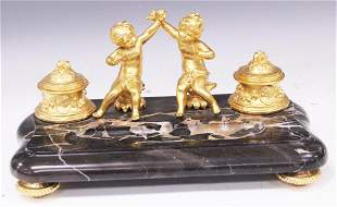 FRENCH DORE BRONZE MARBLE INKWELL, 19TH C.