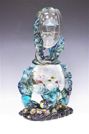 MURANO STYLE VINTAGE SIGNED ART GLASS SCULPTURE