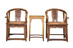 CHINESE VINTAGE CARVED ARM CHAIRS & TEA TABLE