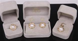 LADYS 14KT MABE PEARL & DIAMOND SUITE