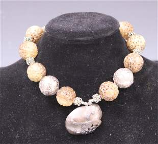 CHINESE CARVED JADE & SILVER BEADED NECKLACE