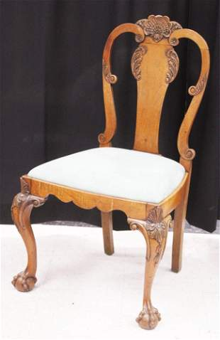 CHIPPENDALE STYLE WALNUT FORMAL CHAIR, 19TH C.