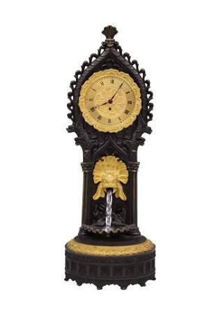 FRENCH DORE BRONZE CLOCK W/ FOUNTAIN. 19TH C.