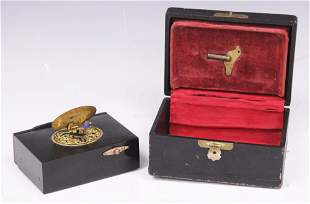 FRENCH MECHANICAL BIRD BOX WITH CASE, 19TH C.