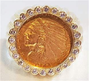 INDIAN HEAD GOLD COIN SET IN 14KT RING