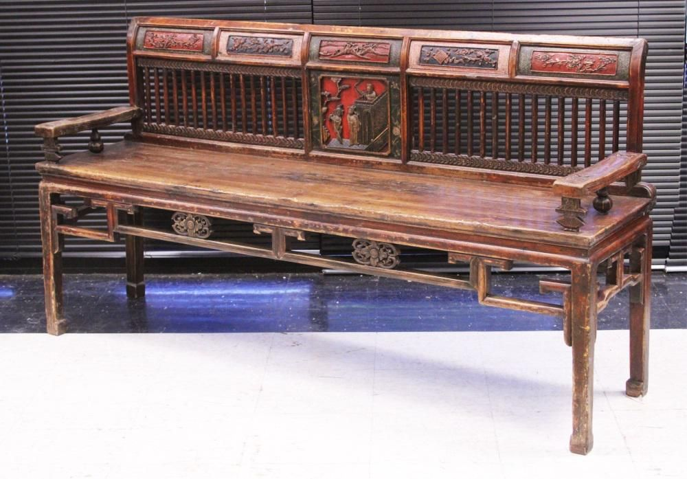 CHINESE 19TH C. CARVED & PAINTED BENCH