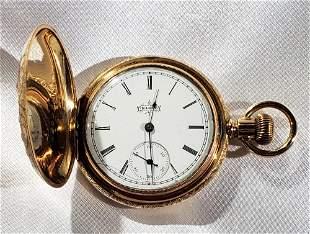 ELGIN GOLD FILLED & DIAMOND POCKET WATCH