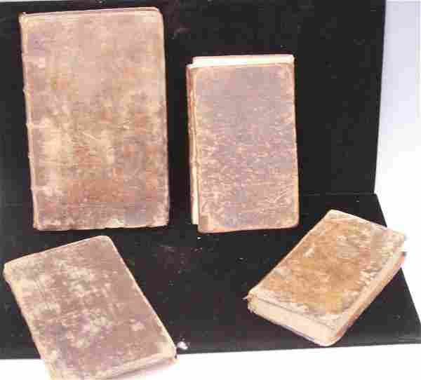 LOT (4) EARLY LEATHER BOUND BOOKS