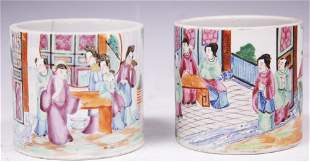 CHINESE QING DYNASTY PAINTED BRUSH POTS
