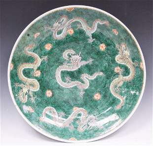 CHINESE QING DYNASTY PAINTED CHARGER W/DRAGONS
