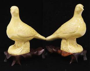 CHINESE QING DYNASTY FIGURES OF BIRDS W/ STANDS