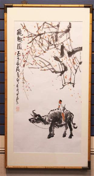 CHINESE PAINTING OF BOY WITH OX