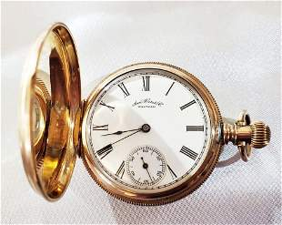 WALTHAM ROSE GOLD OPEN FACE POCKET WATCH
