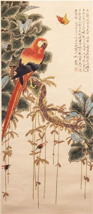 CHINESE PAINTING WITH PARROT IN TREE