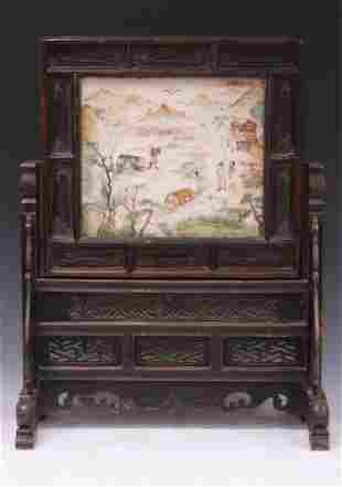 CHINESE (QING DYNASTY) MARBLE SCREEN W/STAND