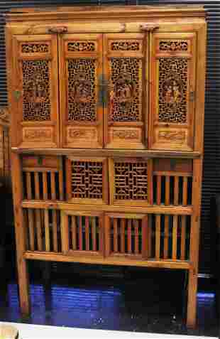 CHINESE VINTAGE CARVED WOOD PANELED CABINET