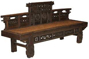 CHINESE CARVED ELMWOOD BENCH,19TH C.