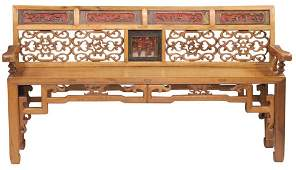 CHINESE VINTAGE CARVED BENCH W/PANEL DECORATION