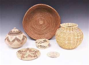 NATIVE AMERICAN WOVEN BASKETS, TRAYS- (6) T0TAL
