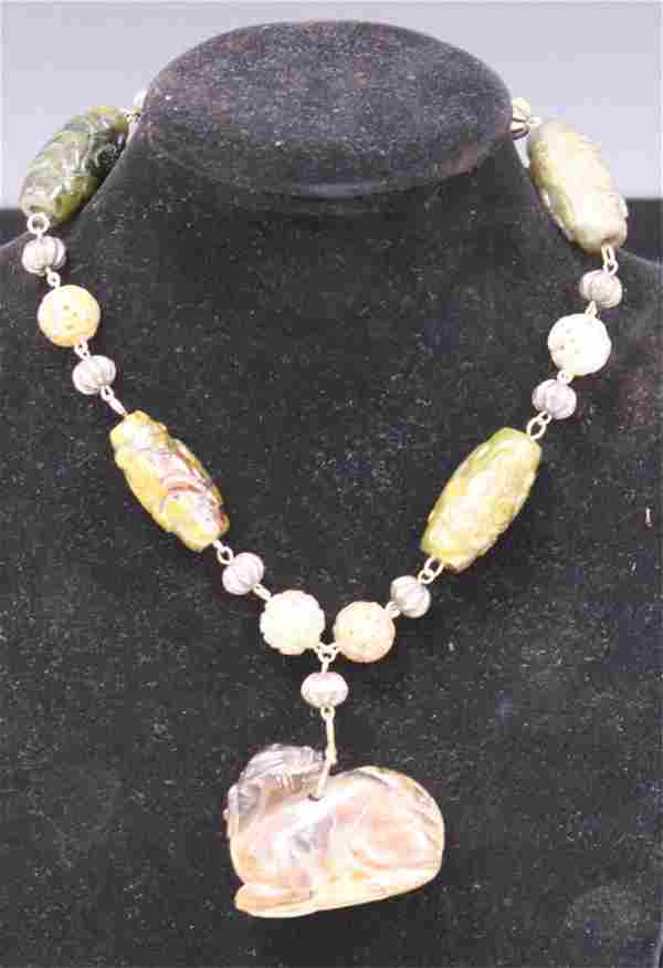 CHINESE CARVED JADE BEADED NECKLACE