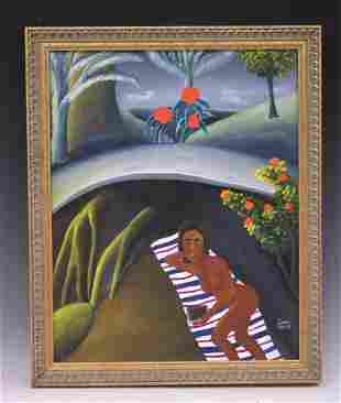 JULIAN VALERY (1958-2001) HAITIAN OIL ON CANVAS