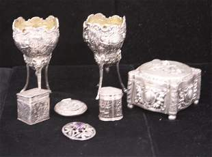 COLLECTION SILVER PILL BOXES, CUPS, SCOTTISH PIN