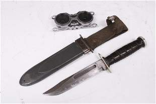 LOT OF (2)- U.S. NAVY MK2 KNIFE & BINOCULARS