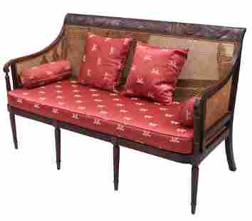 CLASSICAL 19TH C. MAHOGANY CANNED BACK SETTEE