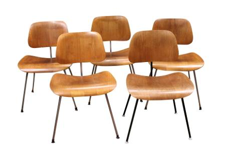 CHARLES EAMES (SET OF 5) VINTAGE CHAIRS