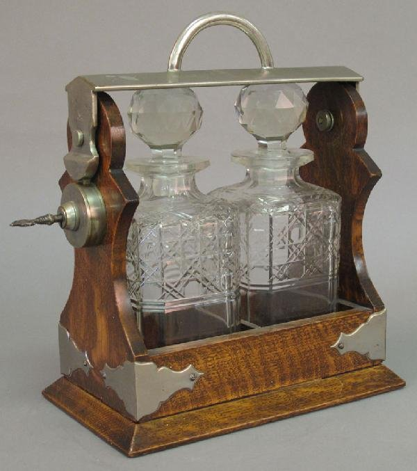 2: EARLY 20TH CENTURY OAK LIQUEUR SET with crystal deca