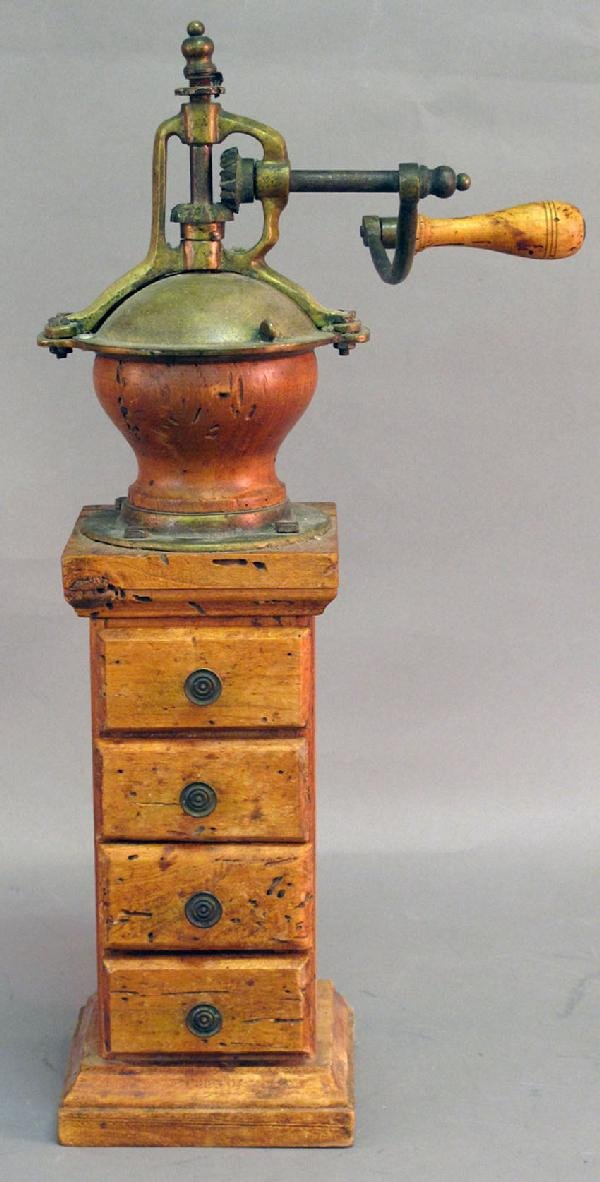 3: 19TH CENTURY EUROPEAN PINE COFFEE GRINDER with four