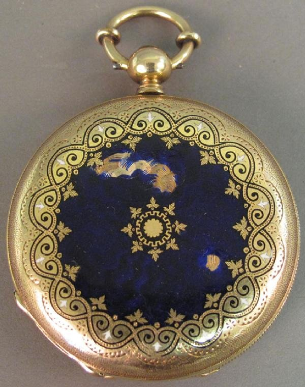 4: JULES MATHEY 14KT POCKET WATCH with blue enamel some