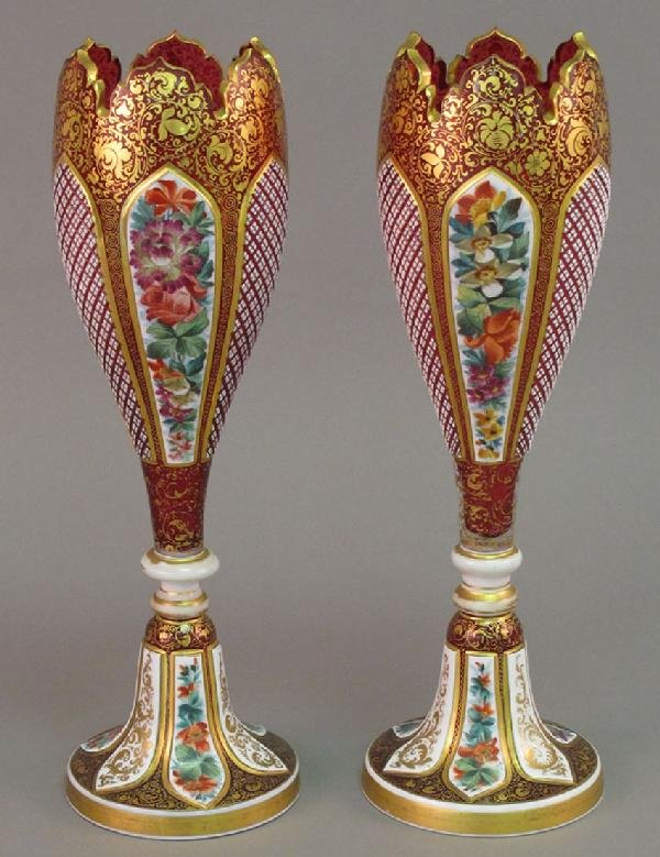 7: PAIR OF LATE 19TH CENTURY CUT TO CLEAR BOHEMIAN PAIN