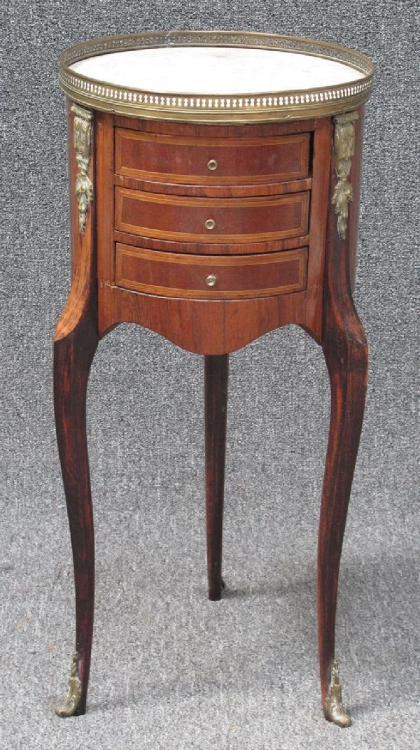 9: FRENCH MARBLE TOP ROSEWOOD THREE DRAWER COMMODE ca 1