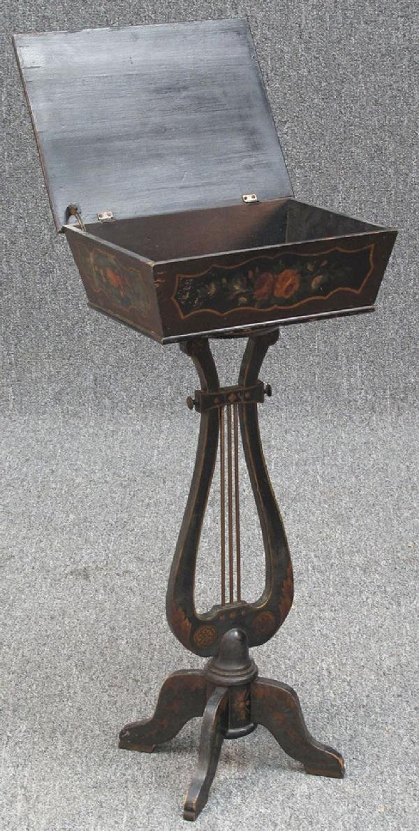 11: MID 19TH CENTURY PAINTED LIFT TOP SIDE CABINET, h:2