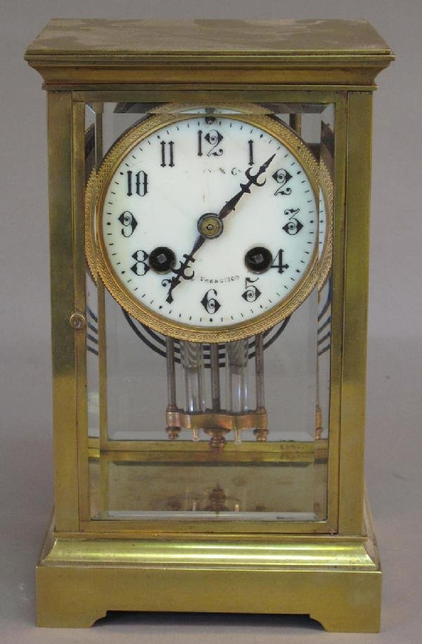 """12: SHREVE & CO. FRENCH CLOCK with beveled glass, 9"""" no"""
