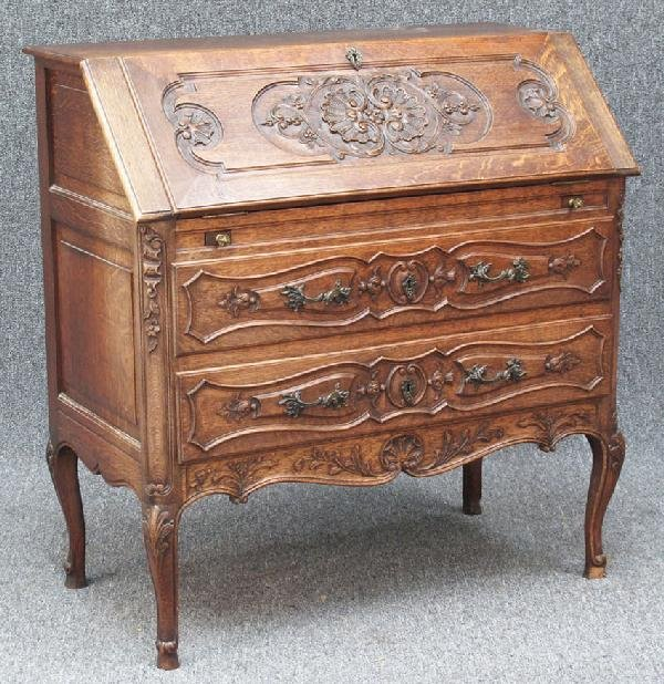 14: FRENCH CARVED OAK COUNTRY DROP FRONT DESK early 20t