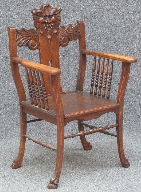 15: AMERICAN OAK ARMCHAIR with northwind face