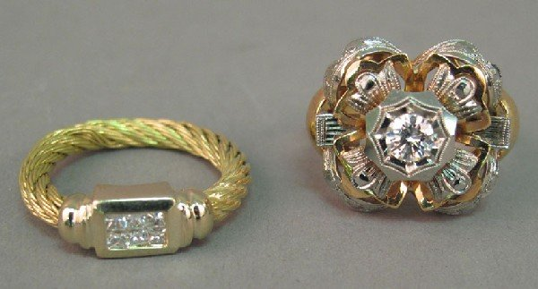 17: LOT OF (2) 18KT GOLD AND DIAMOND RINGS